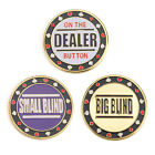 GOGO Set of 3 Metal Chip Poker Buttons Small Blind Big Blind and Dealer