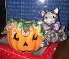FITZ & FLOYD Halloween Black Cat Pumpkin CANDLE HOLDER Kitten Jack-O'-Lantern