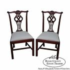 Hickory Chair Pair of Solid Mahogany Chippendale Style Side Dining Chairs