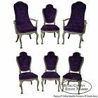 Vintage 1950s Hollywood Regency Set of 6 Paint Frame Upholstered Dining Chairs
