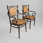 2 antique signed italy bentwood cane acroll arm chairs THONET style italian vtg