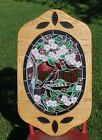 Real Stained Glass Window Art Panel Hanging Floral Bird 32 Tall Stainglass