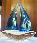 Dynasty Gallery Double Sail Sailboat Figurine Art Glass Hand Fused Vinci
