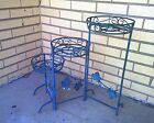 Vintage Mid Century Modern Metal Wrought Iron Round Three Tier Plant Stand -22