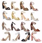 New Womens Ankle Strap Pumps Open Toe Chunky Block Party Sandal High Heels