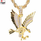 Mens 14k Gold Plated Iced Eagle Pendant 24 Rope Chain Necklace HC 1121 G