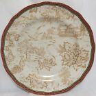 222 Fifth Christmas Toile Pattern Dinner Plates Winter Scene Design - S/2 - New