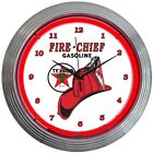 Texaco Gasoline Fire Chief Red Neon Hanging Wall Clock 15