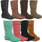 NEW KID Boots Flat Heel Mid Calf Girl Shoes Slip On Toddler Slouch Youth Boot
