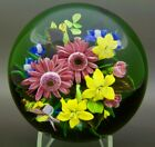 RICK AYOTTE Colorful Various Flowers Glass LT ED 2003 PaperweightApr 25Hx4W