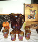 Orange Carnival Glass Water Pitcher w 6Juice glass Indiana Harvest Gold Grapes