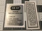Kohler 14hp K321 decal Cub Cadet, Wheel Horse black and silver