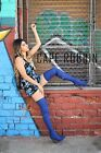 Connie 1 Stretch Denim Over Knee Thigh High Block Heel Pointy Toe Boot Blue