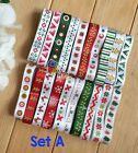 20 22YDs Mixed 3 8 Grosgrain Satin Ribbon Xmas Snowflake Bling Scrapbooking Lot