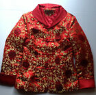 Chinese Natural Silk Red  Gold Jacket Dress Jacket Size L 165 88A  Tag Made C