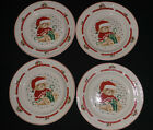Set of 4 Salad Plates Tienshan Christmas Theodore Teddy Bear Green Present~Rare