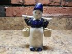 Vintage  ceramic Blue and White Dutch boy with water buckets  made in Japan