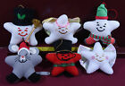 's plush Happy Star Christmas Ornament Lot 6pc Advertising