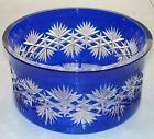 Heavy Bohemian Cobalt Blue Cut to Clear Crystal Centerpiece Bowl