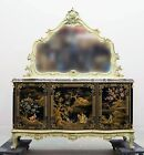STUNNING Italian Marble Top Server Baroque Dining Cabinet Hand Painted Oriental
