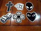 6x Biker Laminated Stickers Dice Bandaid Cross Alien Poker Badge Logo Race Car