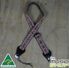 Colonial Leather Red Square Jacquard Adjustable Ukulele Strap Australian Made
