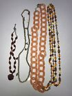 Lot 4 Women`s Necklaces Crystal Beed Breaded Charmer