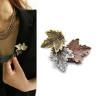 Women Vintage Maple Leaf Brooch Gold Silver Plated Brooches Pins Dance Party SP