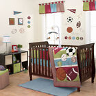 Sports Star Baby Boy Crib Bedding Brown Blue Football Basketball Soccer by Belle