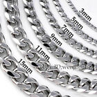 3 19mm MENS Boys Chain Silver Tone Curb Link Stainless Steel Necklace 14 45