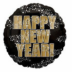 Happy New Year Black with Stars Balloon Helium fill black silver gold colours