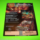 CAPTAIN HOOK By GAME PLAN 1985 ORIGINAL NOS PINBALL MACHINE SALES FLYER BROCHURE