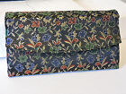 's BLACK Clutch Purse Tapestry Floral Design Blue/Yellow/Green/RED