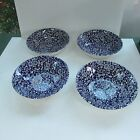 Queens CALICO BLUE (MALAYSIA)  4 COUPE CEREAL BOWLS