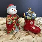 Fitz And Floyd 2005 Christmas Snowman Salt and Pepper Shakers 619/131 New In Box