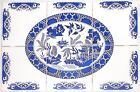 Blue Willow Ceramic Tile Mural 6pcs 425 x 425 KIln Fired Backsplash Decor 2