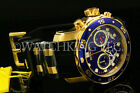 New Invicta Scuba Pro Diver Swiss Chrono 18K Gold Plated Blue DialSS Poly Watch
