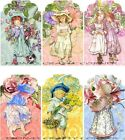 12 FLOWER CHILDREN HANG GIFT TAGS FOR SCRAPBOOK PAGES 01