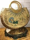 Vintage Straw Bag Purse Paint The Lily Hand Painted 1940s Bathing Woman Woven