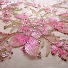 Pink Apple Blossoms Dew Drops Embroidery Rhinestones 100 Polyester Mesh 50w