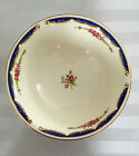 1937 Homer Laughlin Eggshell Nautilus floral colbalt blue /gold trim Bowl