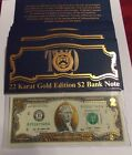22 Karat Gold Edition $2 Bank Note Uncirculated Notes