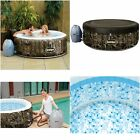 Portable Inflatable Hot Tub Spa 4 Person With Cover Water Filter Heated Relax