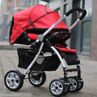 B02 Single Baby Red+Black Fabric Collapsible Comfortable 6 Wheels Strollers