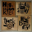 Stampin Up Alphabet Soup 4 Piece Wood Mounted Rubber Stamp Set