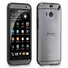 For HTC One M8 Phone Case Cover Slim Clear Black Hybrid Protective Rubber Shell