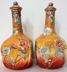 PAIR OF JAPANESE SATSUMA ANTIQUE SAKE BOTTLES WITH MORIAGE DECORATION