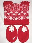 Pottery Barn Kids Baby Fair Isle Aspen Hat  Booties Set Red White in Gift Box