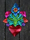 Mexican Hand Made Tin Milagros Bouquet of Flowers with Heart Love Token Amore