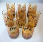 8 Anchor Hocking Drinking 12 oz glass tumblers autumn mountain trees amber brown